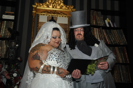 big white wedding with gothic flavour